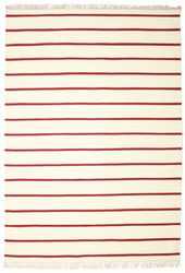 Dhurrie Stripe - White / Red carpet CVD3972