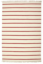 Dhurrie Stripe - White / Red carpet CVD3969